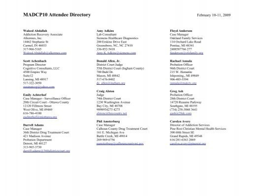 MADCP10 Attendee Directory - Michigan Association of Drug