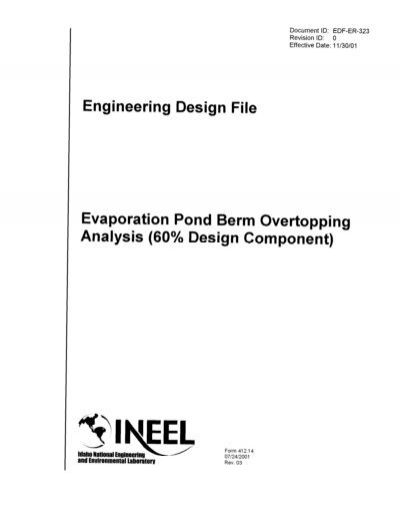 Engineering design file evaporation pond berm overtopping for Design of evaporation pond