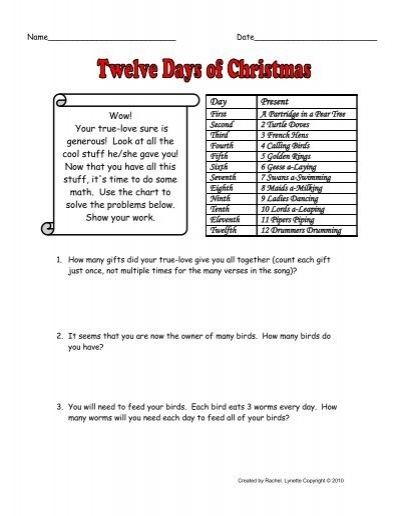 12 days of christmas story problems