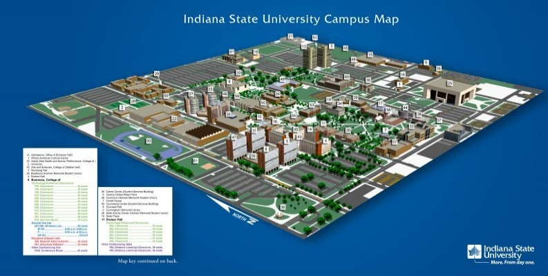 indiana state campus map Indiana State University Campus Map indiana state campus map