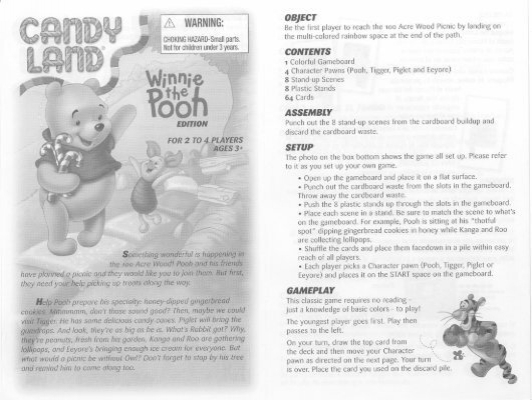 Candy Land Winnie The Pooh Instructions Hasbro
