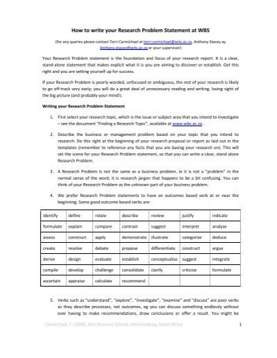 how to write a research problem statement