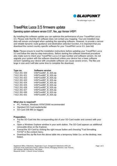 Free Download Blaupunkt Travelpilot Lucca Software Update Programs