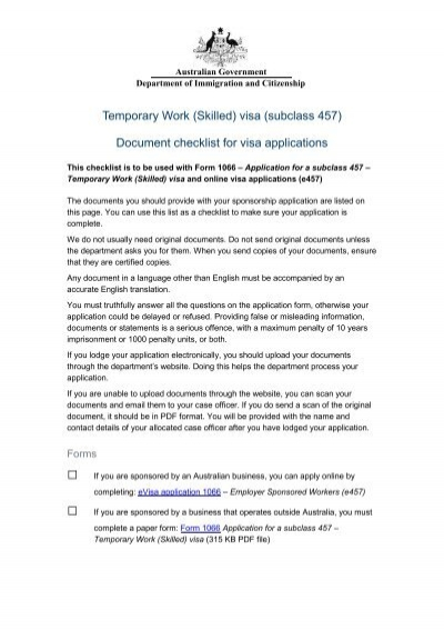 Temporary Work Skilled Visa Subclass 457 Department Of