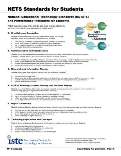 national educational technology standards and performance The national health education standards standards and performance indicators technology, and other factors on health behaviors.