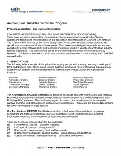 Architectural Cad Bim Certificate Program California Cad Teacher