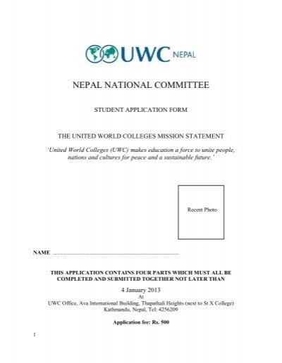 uwc application form - UWC Nepal