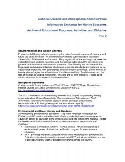 Information Exchange For Marine Educators Archive Of Programs P Z