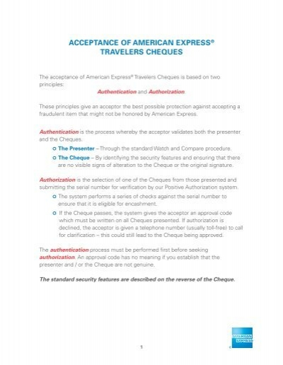 ACCEPTANCE OF AMERICAN EXPRESS® TRAVELERS CHEQUES