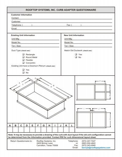 ROOF TOP SYS TEMS, INC  CURB ADAPTER QUESTIONNAIRE