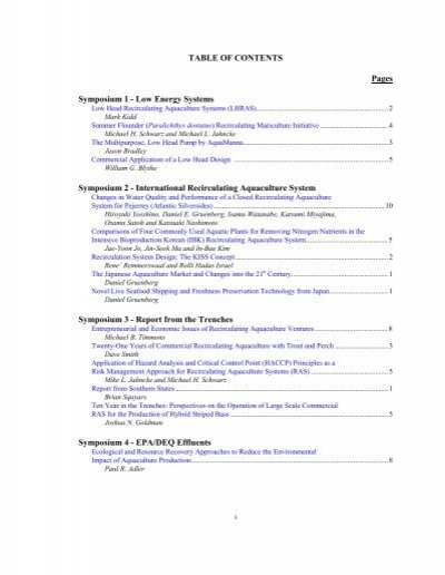 Table Of Contents Pages Symposium 1 The National Sea