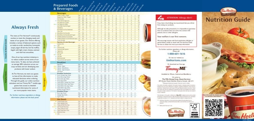 Tim Hortons Nutrition Facts Tim Hortons Calories Induced Info