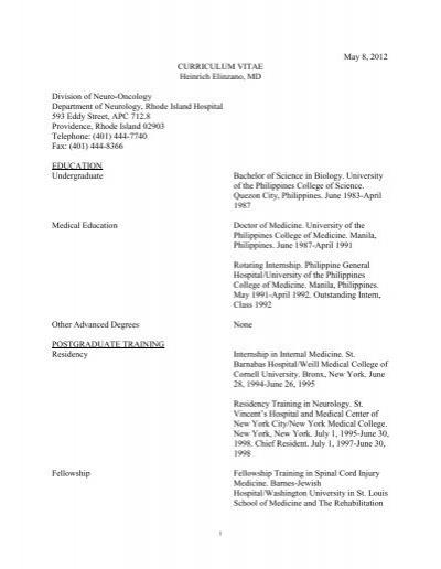 May 8, 2012 CURRICULUM VITAE Heinrich Elinzano, MD Division