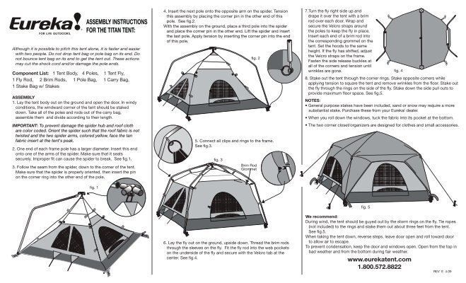 ASSEMBLY INSTRUCTIONS FOR THE TITAN TENT - Eureka Tent  sc 1 st  Yumpu & Component List: Assembly: - Eureka Tent
