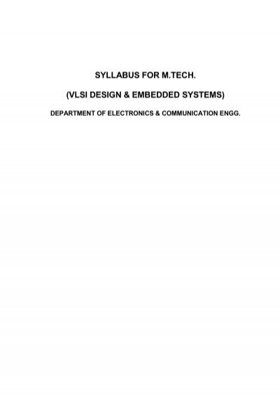 Syllabus For M Tech Vlsi Design Embedded Systems