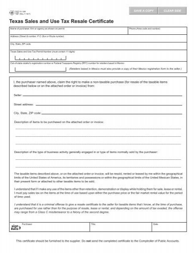 Texas Sales and Use Tax Resale Certificate (Form