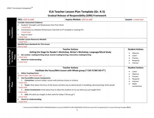 Ela teacher lesson plan template gr k 5 pronofoot35fo Image collections