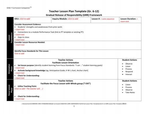 Ela Teacher Lesson Plan Template Gr K 5