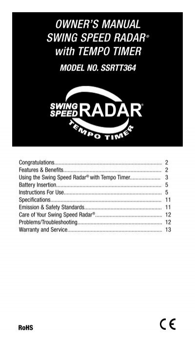 OWNER'S MANUAL SWING SPEED RADAR® with TEMPO TIMER