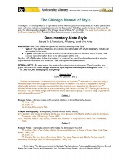 chicago style citation documentary Citing sources in chicago style a guide for students for helpful hints and more examples of chicago citation style see film.