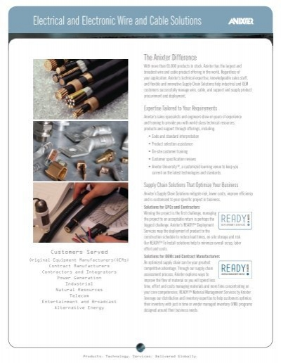 Electrical and Electronic Wire and Cable Solutions Datasheet - Anixter
