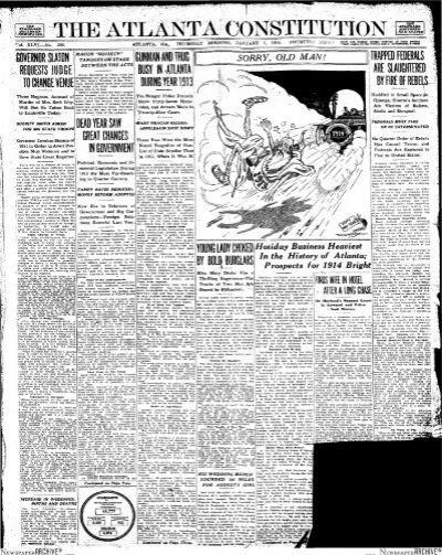 Atlanta Constitution January 01 1914 Thursday 14 Pages Leo Frank