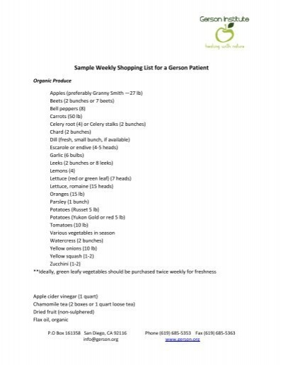 Sample Weekly Shopping List for a Gerson Patient