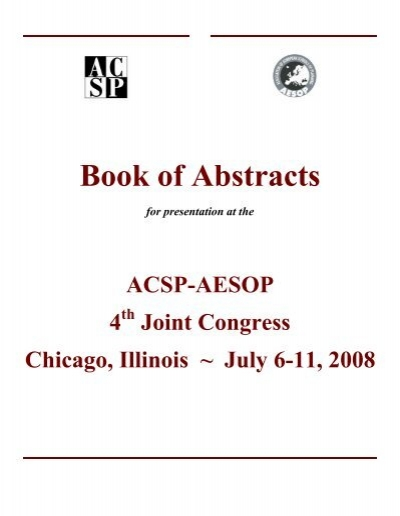 Book of Abstracts Association of Collegiate Schools of