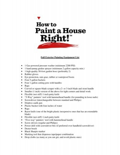 Exterior Painting Equipment List How To Paint A House Right