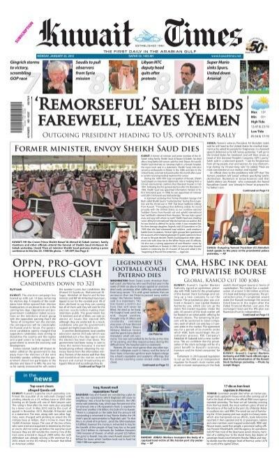 Remorseful Saleh Bids Farewell Leaves Yemen Kuwait Times