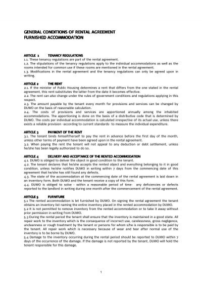 General Conditions Of Rental Agreement Furnished Duwo