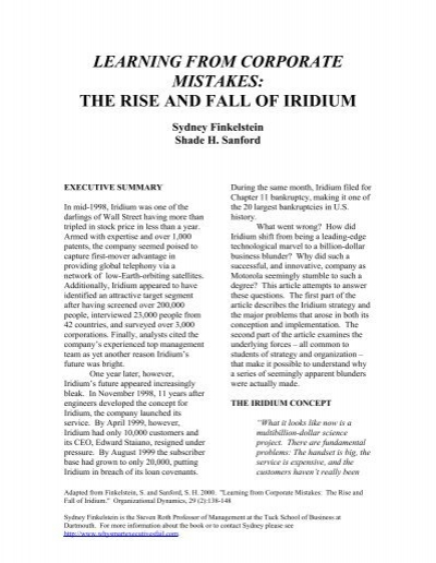 the rise and fall of iridium essay The rise and fall of iridium essay by sainti , university, bachelor's , a+ , may 2005 download word file , 5 pages download word file , 5 pages 45 4 votes.