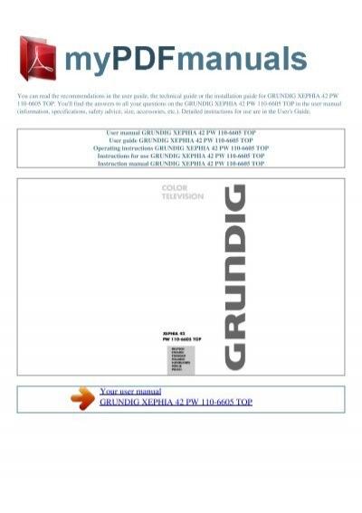 user manual grundig xephia 42 pw 110 6605 top rh yumpu com