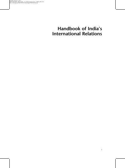 Handbook Of India S International Relations Research Resources
