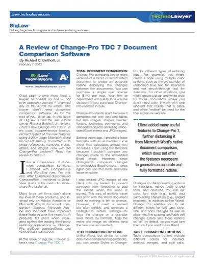 A Review Of Change Pro Tdc 7 Document Comparison Litera