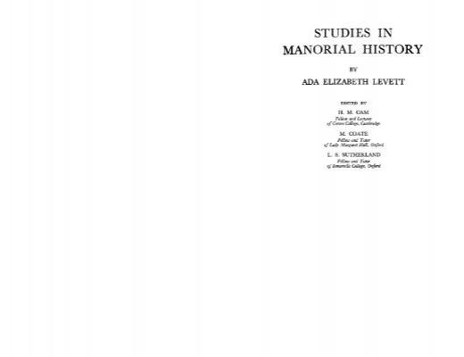 Studies In Manorial History Faculty Of Social Sciences