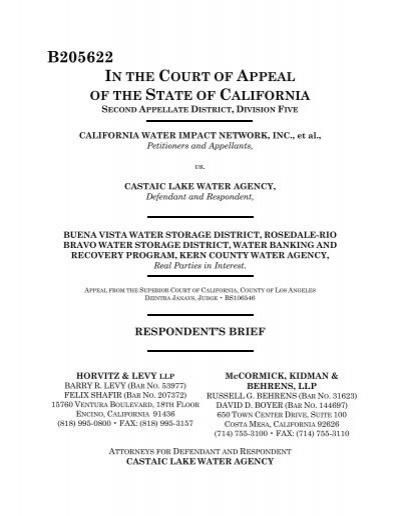 California Water Impact Network, Inc. V. Castaic Lake