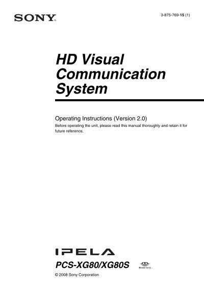 sony pcs xg80 operation manual v2 3 vidofon rh yumpu com sony pcs-xg80 user manual Sony Logo