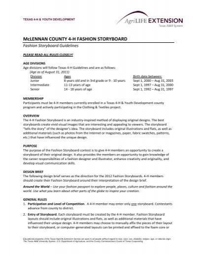 McLENNAN COUNTY 4-H FASHION STORYBOARD