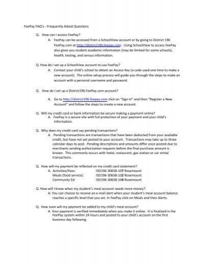 FeePay FAQ - Independent School District 196