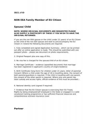 Ireland Non Eea Family Member Of Eu Citizen Spouse Child