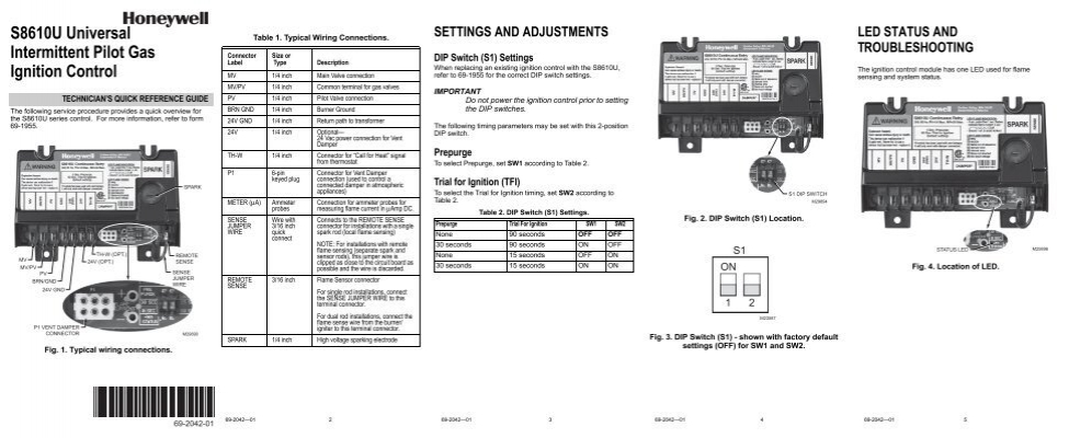 692042—01  s8610u universal intermittent pilot gas