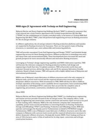 Mhb Signs Jv Agreement With Technip On Hull Mhb