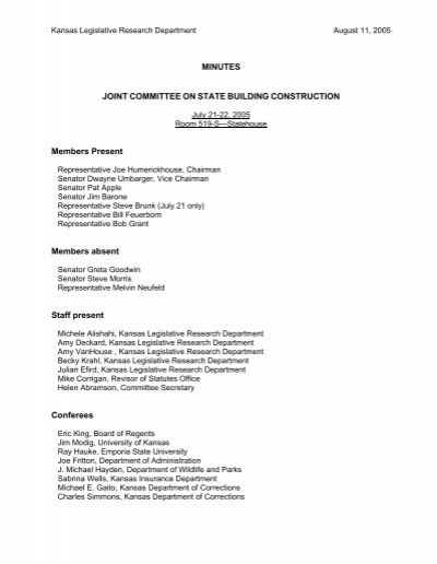 Minutes Joint Committee On State Building
