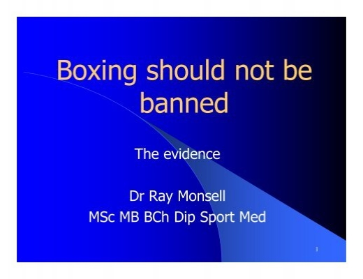 the sport of boxing should not be banned The number of punches thrown in a boxing match could indicate whether   though fatal fights don't occur often in boxing, physicians and officials  instead  of trying to ban the sport, he said, physicians should devise ways to.