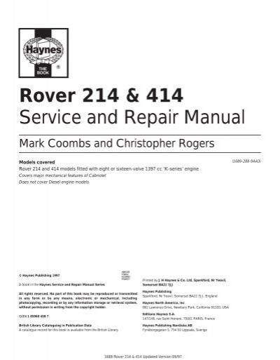 rover 214 414 service and repair manual rover club rh yumpu com Rover 214 1991 Loughton Essex rover 214 si service manual