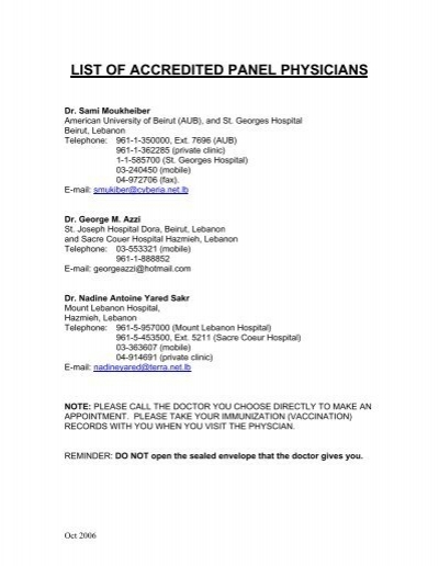 LIST OF ACCREDITED PANEL PHYSICIANS