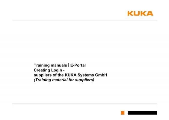 training manuals e portal creating login kuka systems