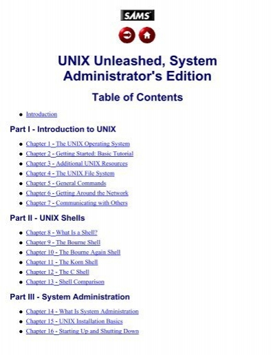 TOC -- UNIX Unleashed, System Administrator's Edition - The