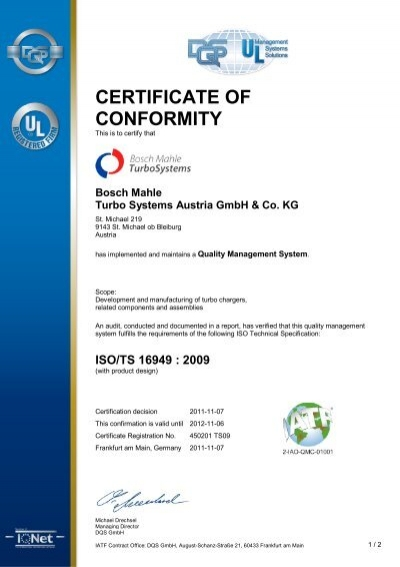 Iso/Ts 16949 - Certificate Of Conformity - Bosch Mahle Turbo Systems